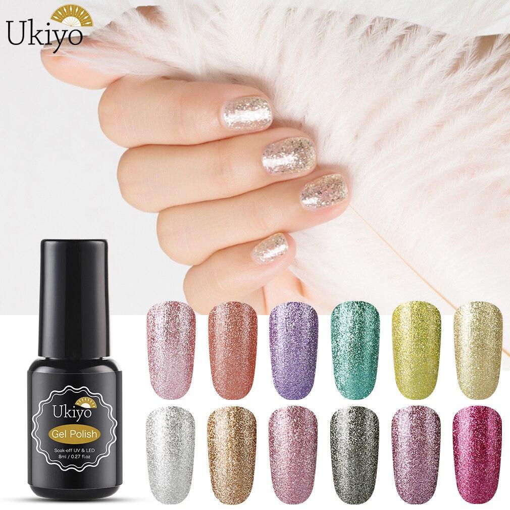 Ukiyo 8ml Platinum Glitter Nail Gel Polish Soak Off UV LED Shining Sequins Gel Varnish Semi Permanent Nail Art Lacquer GelLak