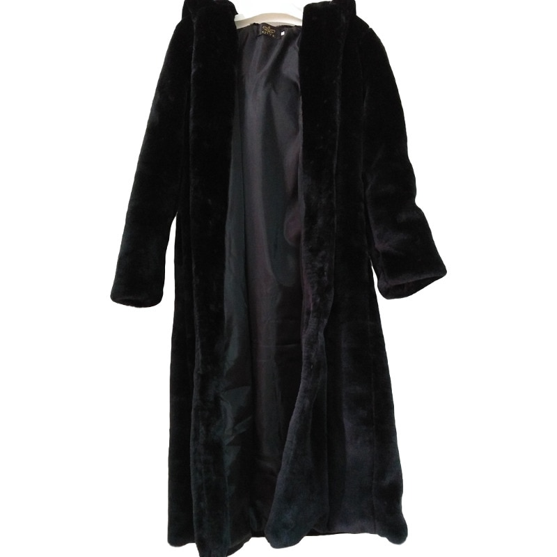 Abrigo largo de piel sintética de abrigo grueso de invierno de blanco...