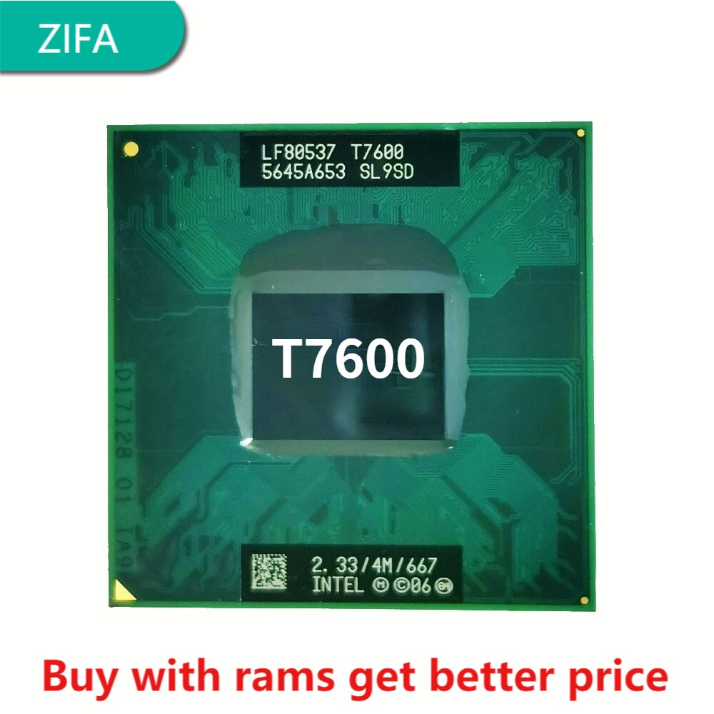 إنتل كور 2 Duo T7600 SL9SD 2.3 GHz ثنائي النواة ثنائي الموضوع معالج وحدة المعالجة المركزية 4 متر 34 واط المقبس م/mPGA478MT