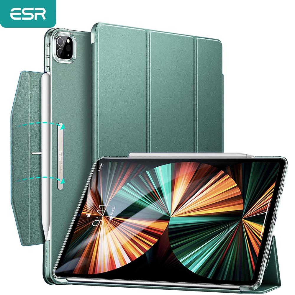 ESR حافظة لجهاز ايباد برو 11 حافظة 2021 لاجهزة ايباد برو 12.9 2021 اسيند ثلاثي الطي حافظة ظهر قوية حافظة لجهاز ايباد برو