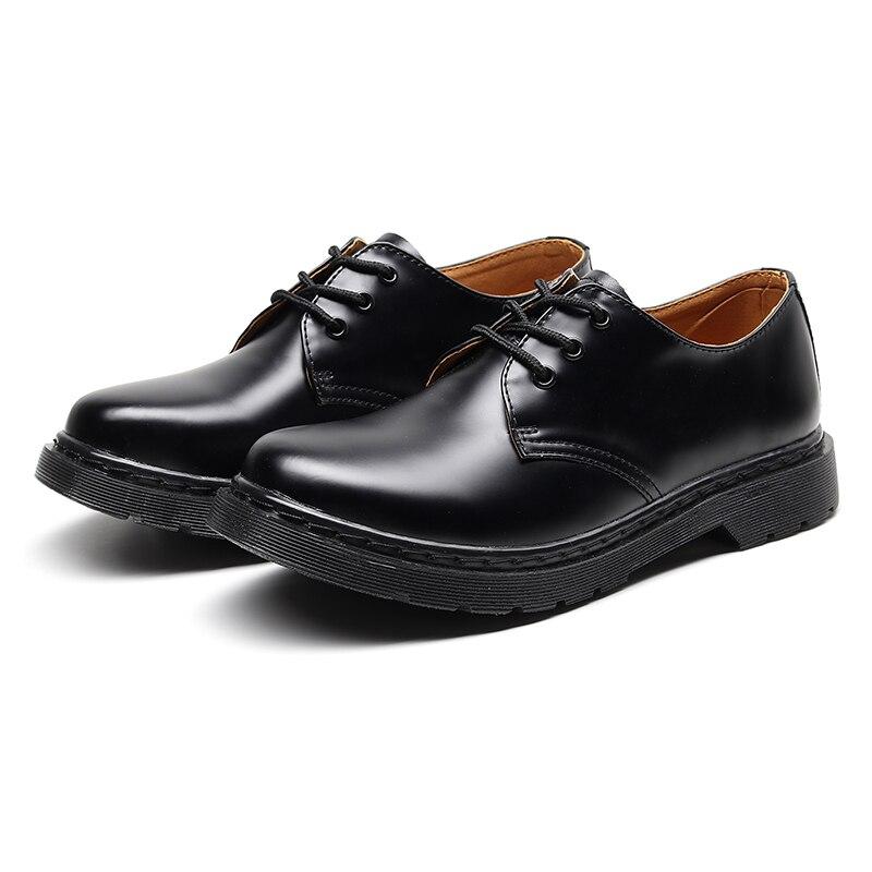 مارتنز حذاء أكسفورد للرجال حذاء مسطح أشكال جلد مخرم أسود كامل نعل خارجي للمكتب حذاء ديربي رجالي مقاس كبير 35-46