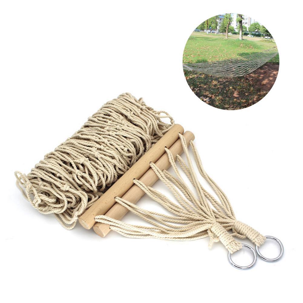 Гамак-сетка из хлопковой веревки, подвесная Койка-качели из хлопковой веревки с сумкой для кемпинга и отдыха на открытом воздухе, для дома и ...