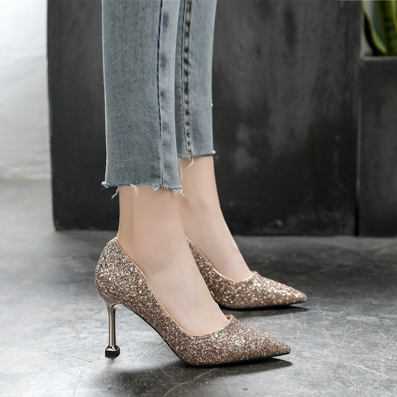 Women's Shoes 2020 Sequins Wedding shoes Women's high-heeled shoes pointed stiletto high-heeled shoe