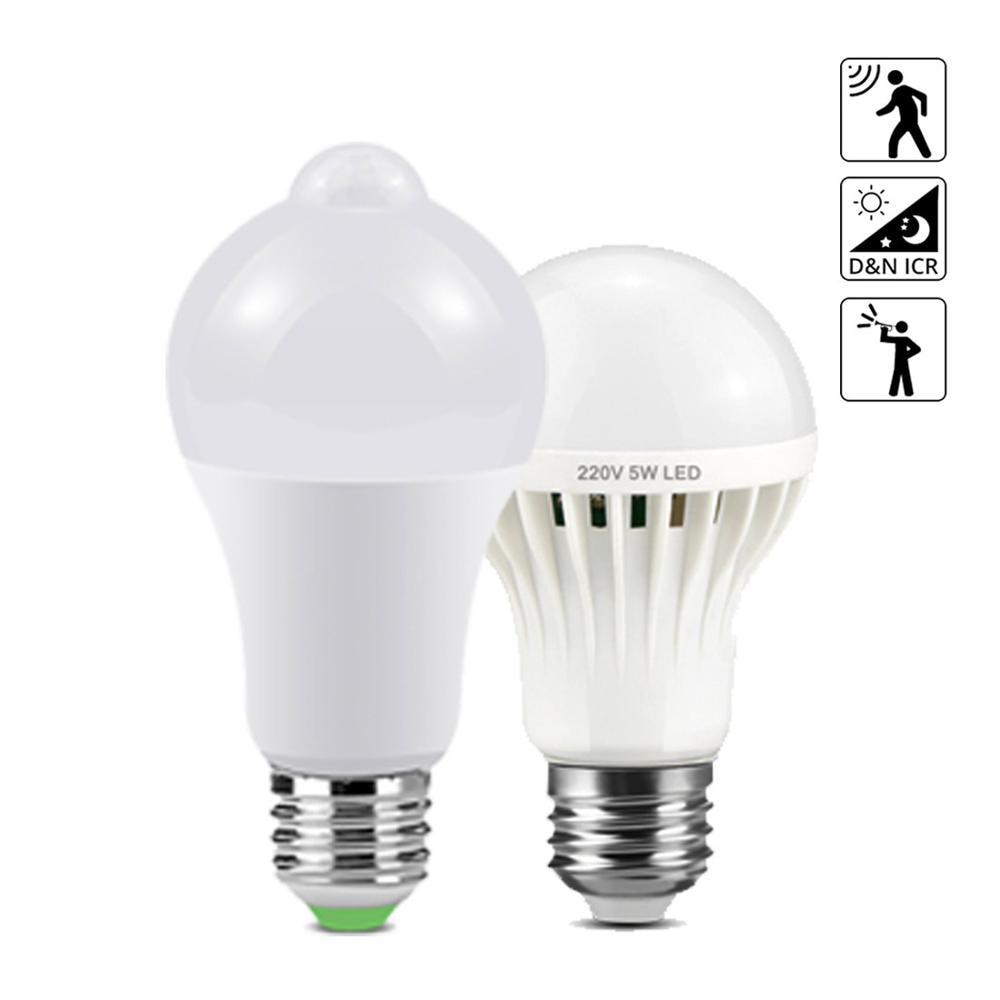Lamp With Motion Sensor Light PIR LED Night Light Movement Detection Sensor Lights Home Sound +Light Sensor 220V lamps E27 Bulb