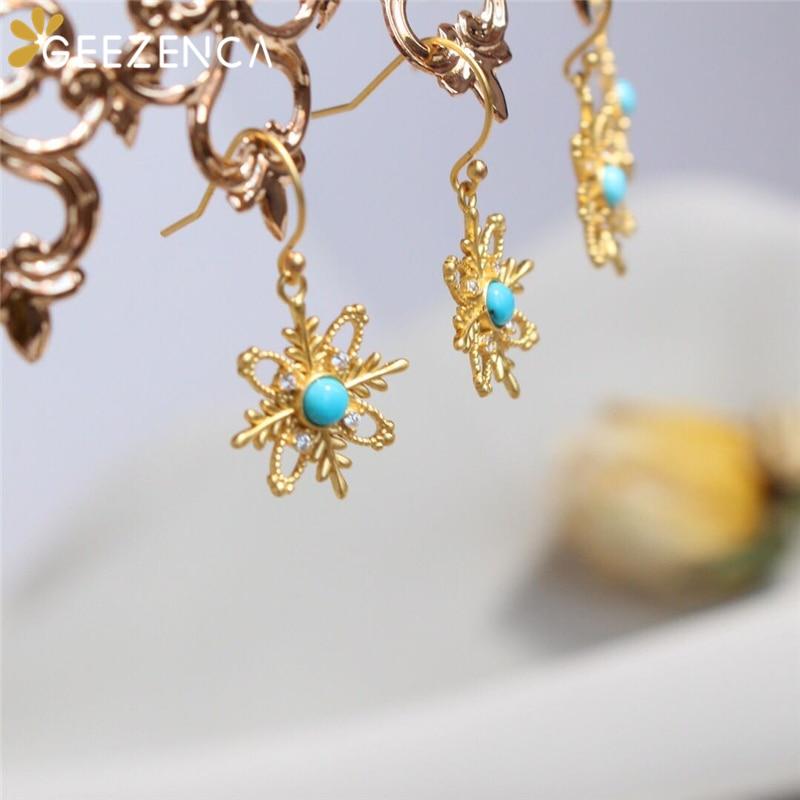 925 Sterling Silver Gold Plated Turquoise Drop Earrings Luxury Fashion Gemstone Earring Fine Jewelry Women Gift Christmas 2020