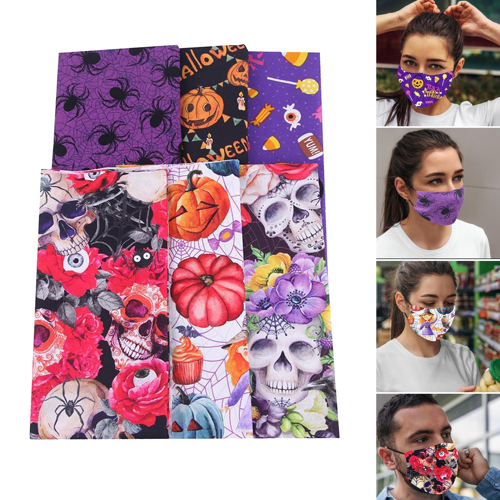 6 Style Halloween Cotton Fabric Bundles Square Sewing for DIY Craft Party Supplies, (6pcs/50x50cm)