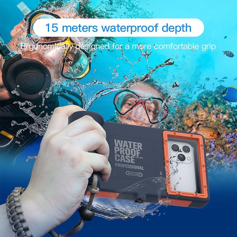 Profissional 15m caso mergulho subaquático para iphone se 2020 11 pro max x 10 xs xr 7 8 6s samsung nota 10 + caso de telefone à prova dwaterproof água