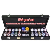 200300400500pcsset poker chips sets wheat clay casino texas holdem poker sets with leather suitcase free gift 14g per pcs