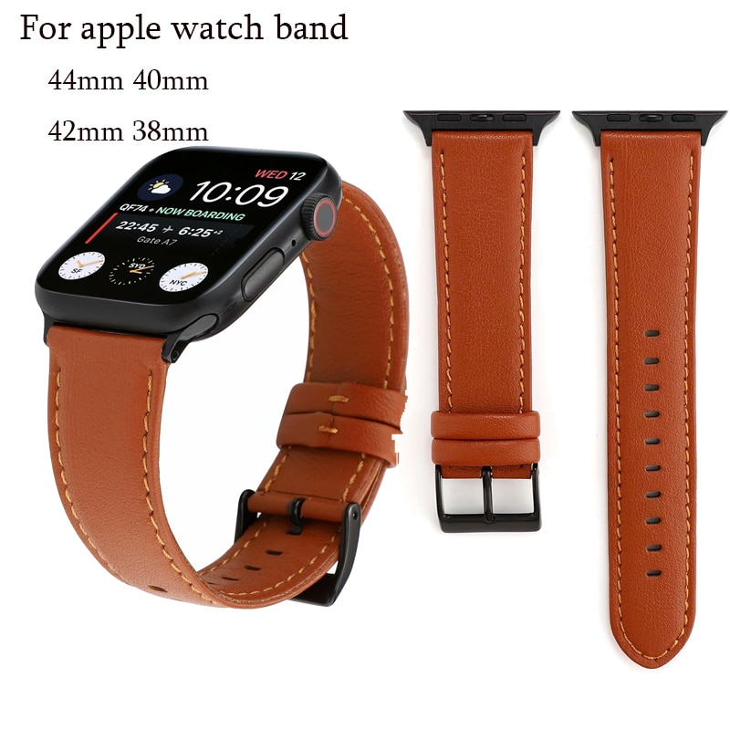 strap genuine leather bands for apple watch 38mm 42mm 40mm 44mm smart watches band for i watch series 5 4 3 2 1 women s bracelet Strap for apple watch band 42mm 38mm 44mm 40mm Genuine leather Sport loop bands for iwatch Series 5/4/3/2/1 bracelet accessories
