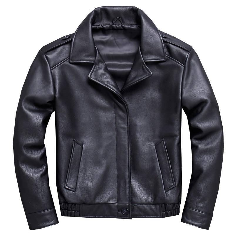 Mens Real Leather Jacket Motorcycle Biker Bomber Coat Men Genuine Leather Jackets Coats Male Black Basic Outerwear Oversize Tops