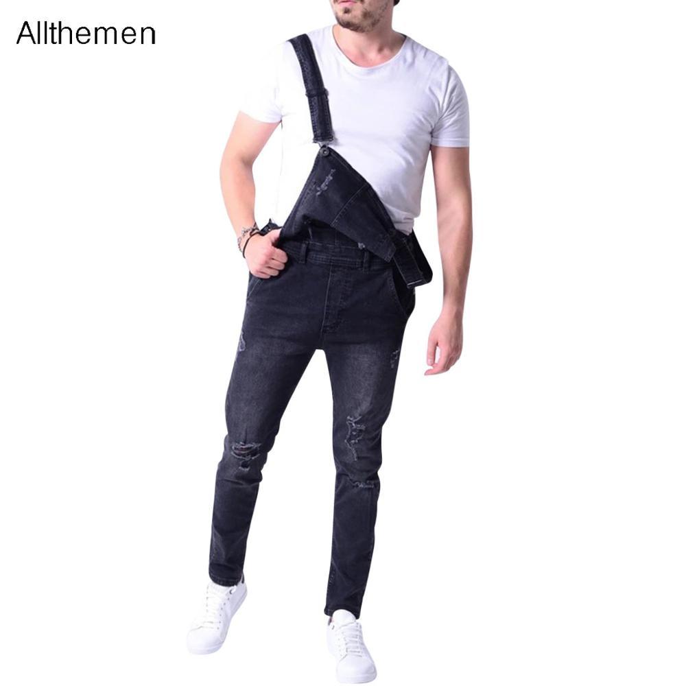 Модные мужские джинсовые комбинезоны Allthemen, мужские модные джинсовые комбинезоны, комбинезоны, мото байкерские джинсы, брюки, брюки