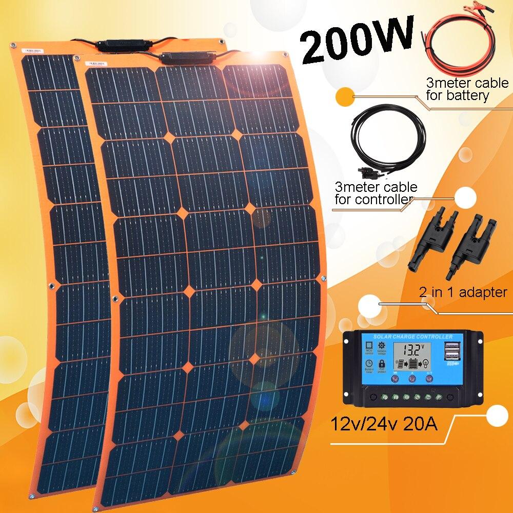لوحة شمسية 12 فولت 300 واط 200 واط مجموعة كهروضوئية نظام منزلي مع شاحن بطارية شمسي 30A للسيارة RV قارب قافلة