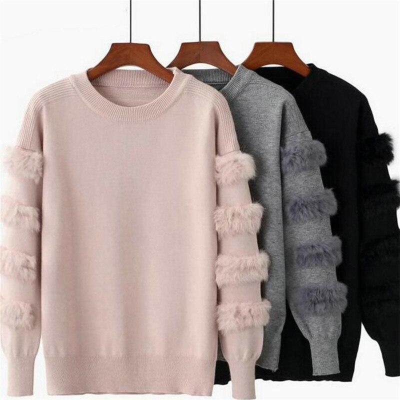 2019 herbst und winter neue frauen mode kaninchen pelz dekorative hülse pullover einfarbig pullover pullover pullover