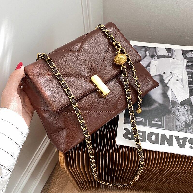 Vintage Chain Designer Scrub PU Leather Crossbody Bags For Women 2021 Winter Women's Trend Handbags Branded Cross Body Bag Sac