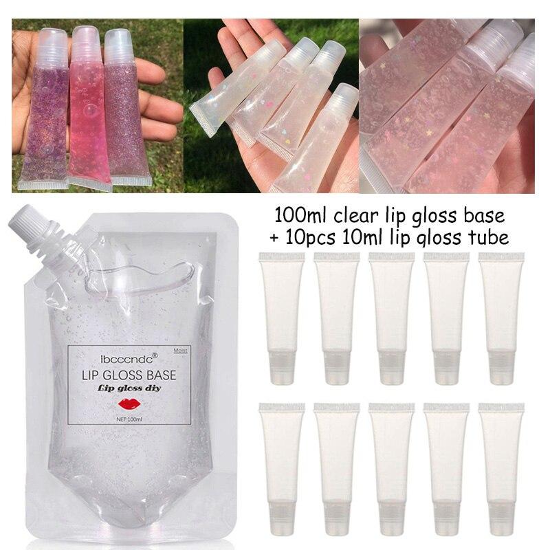 100ml de brillo de labios transparente Base aceite DIY brillo de labios con brillo de labios contenedor de tubos de materia prima Gel hidratante Versagel