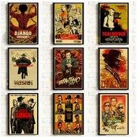 Quentin taranto     affiches de Film de dessin anime pour tuer Bill Django  en toile de papier  decor mural pour salle de cinema