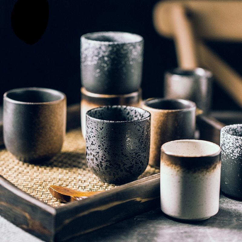 Tazas de café de té de estilo japonés Vintage, juego de té de Kungfu de cerámica de vidrio pintado a mano