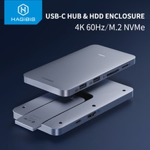 Hagibis USB-C Hub Met M.2 Harde Schijf Behuizing Voor Macbook Pro Type-C Ssd Case Met Usb 3.1 Pd 4K Hdmi Sata Sd/Tf Kaartlezer
