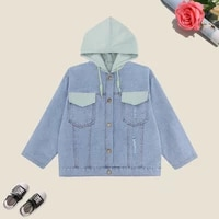 spring coat for girls casual denim jacket for children patchwork kids outerwear autumn hooded teenagers clothes 3 14 years