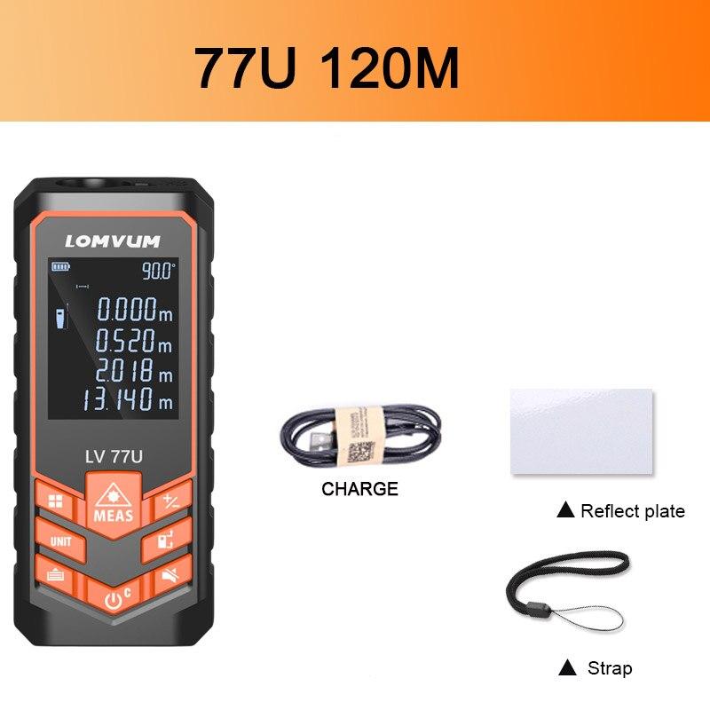 Купить с кэшбэком LOMVUM USB Charging 77U Handhold Trena Laser Range Finder Digital Laser Distance Meter Electrical Tape Measuring Tools 60M-120M