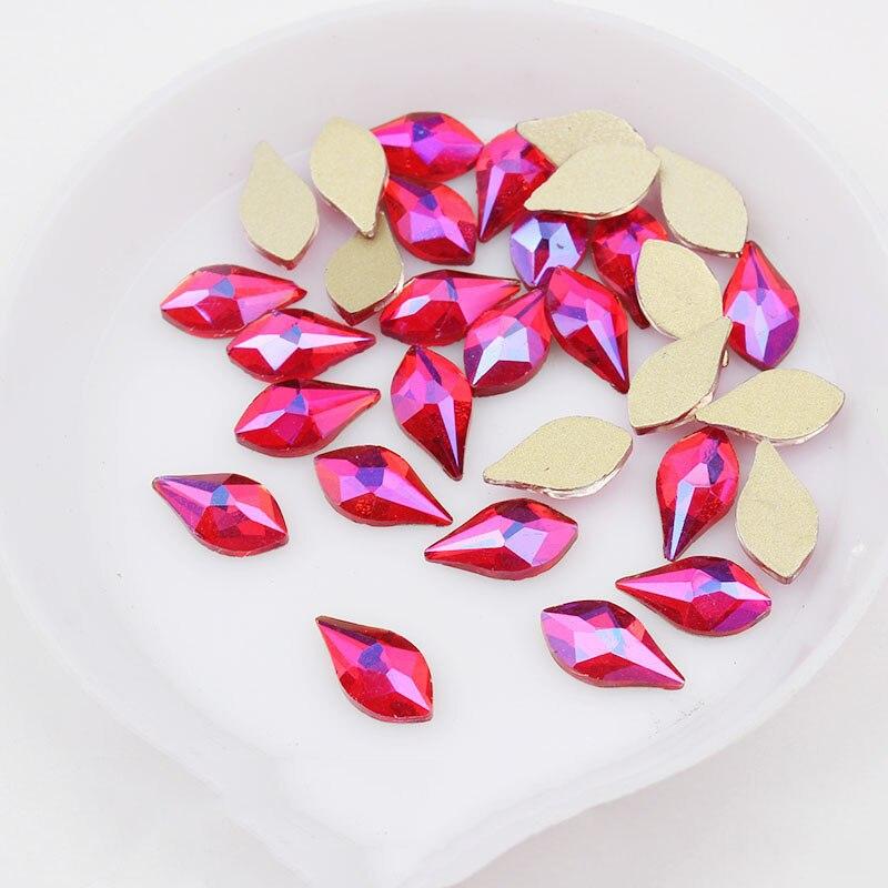 Juego de diamantes de imitación para uñas, cristal de pera, cristales planos, sin fijación térmica