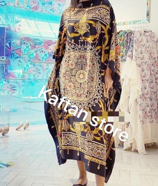 Traditionellen Gedruckt Sommer Afrikanische frauen Moslemisches abaya robe kleid Freie Größe Dashiki Böhmischen Silk Kaftan lange kleid