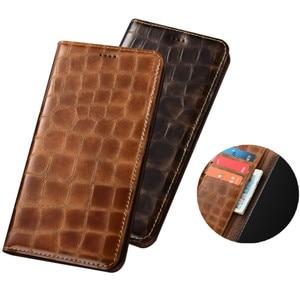 Crocodile grain genuine leather magnetic phone case card pocket for Xiaomi Mi9T Lite/Xiaomi Mi9T phone cover stand coque funda