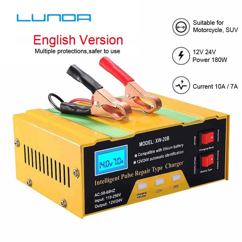 Cargador de batería de coche completamente automático 12V/24V cobre puro reparación inteligente, para batería seca sin plomo batería sin mantenimiento