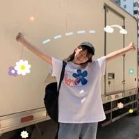harajuku shirt sweet flower kawaii t shirt for girls korean style aesthetic clothing gothic girl style top tee cotton t shirt