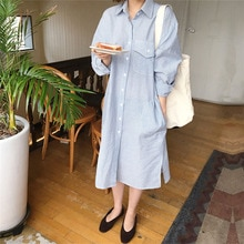 Korean Fashion Polo Collar Retro Split Fork Stripe Dress Fashion Autumn New 2021 Solid Color Single-