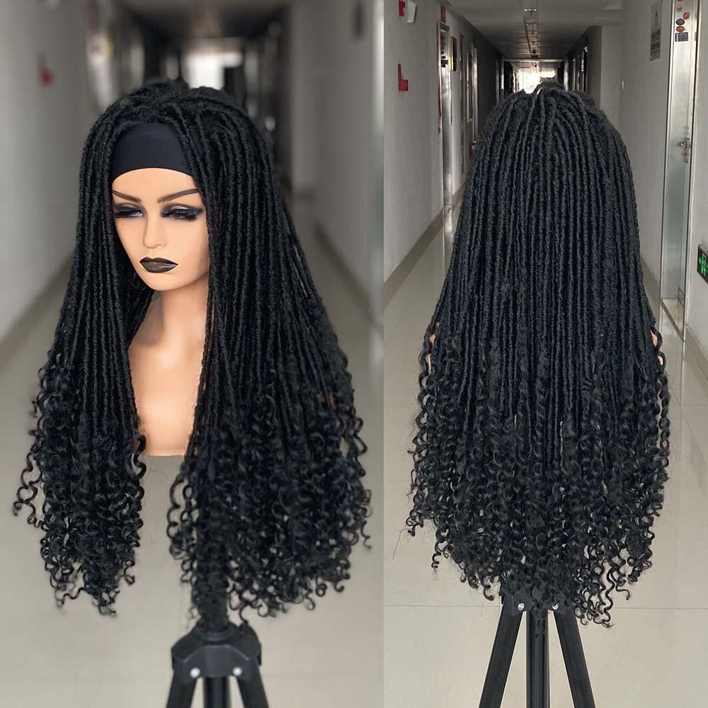 26 Inch Long Headband Dreadlock Wig Synthetic Soft Faux Locs Wigs Cosplay Black Braiding Crochet Twist Hair Wigs For Black Women