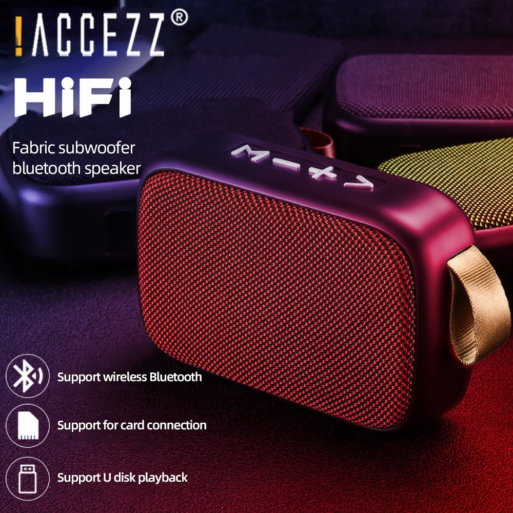 !ACCEZZ Mini Wireless Bluetooth Speaker Stereo Surround Support Aux U Disk TF Card FM Radio Column Portable Outdoor Loudspeaker enlarge