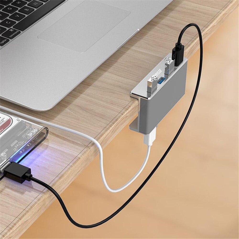 (Q) cubo divisor de alta velocidad de aluminio de 4 puertos USB 3,0 HUB Adaptador tipo Clip Hub para ordenador portátil de escritorio rango de Clip 10-32mm MH4PU