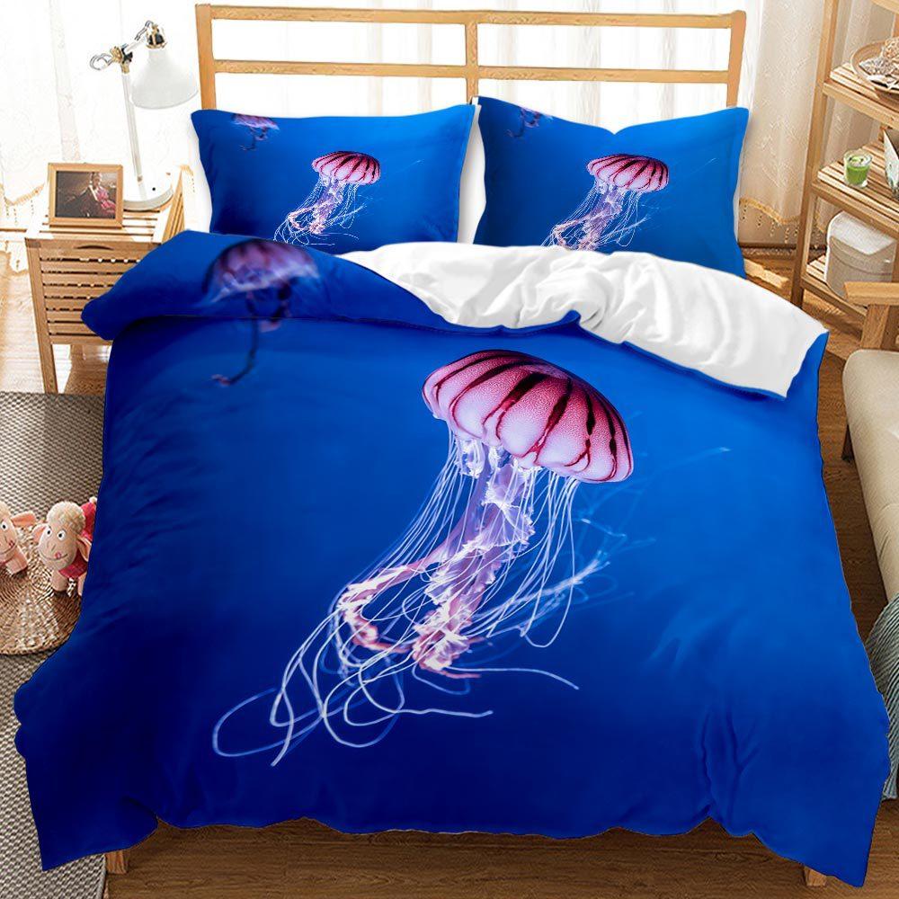 الحياة البحرية قنديل البحر ثلاثية الأبعاد طباعة طقم سرير التوأم كامل الملكة الملك 220x240 حجم حاف مجموعة غطاء المنسوجات المنزلية الكتان
