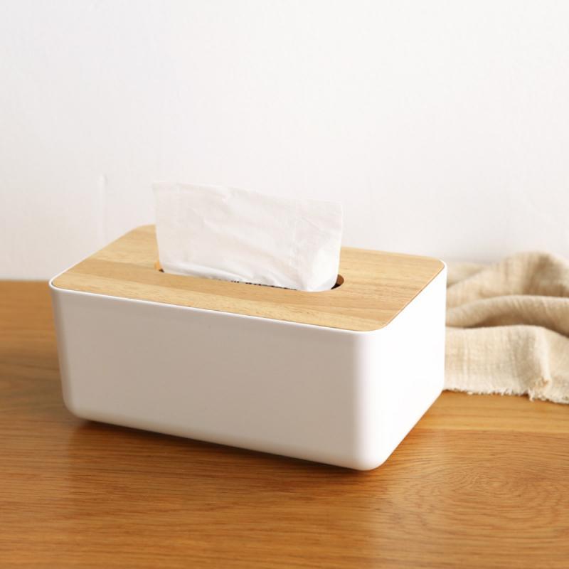 ¡Caliente! Caja dispensadora de pañuelos de papel con cubierta de madera, caja organizadora de servilletas para decoración del hogar y la Oficina, suministros de almacenamiento