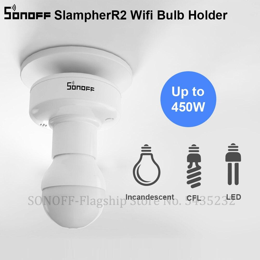 SONOFF-portalámparas inteligente Itead Slampher R2 WiFi, soporte para bombilla LED inteligente E27 inalámbrico, 433MHz, RF, APP y Control por voz para Smart Home