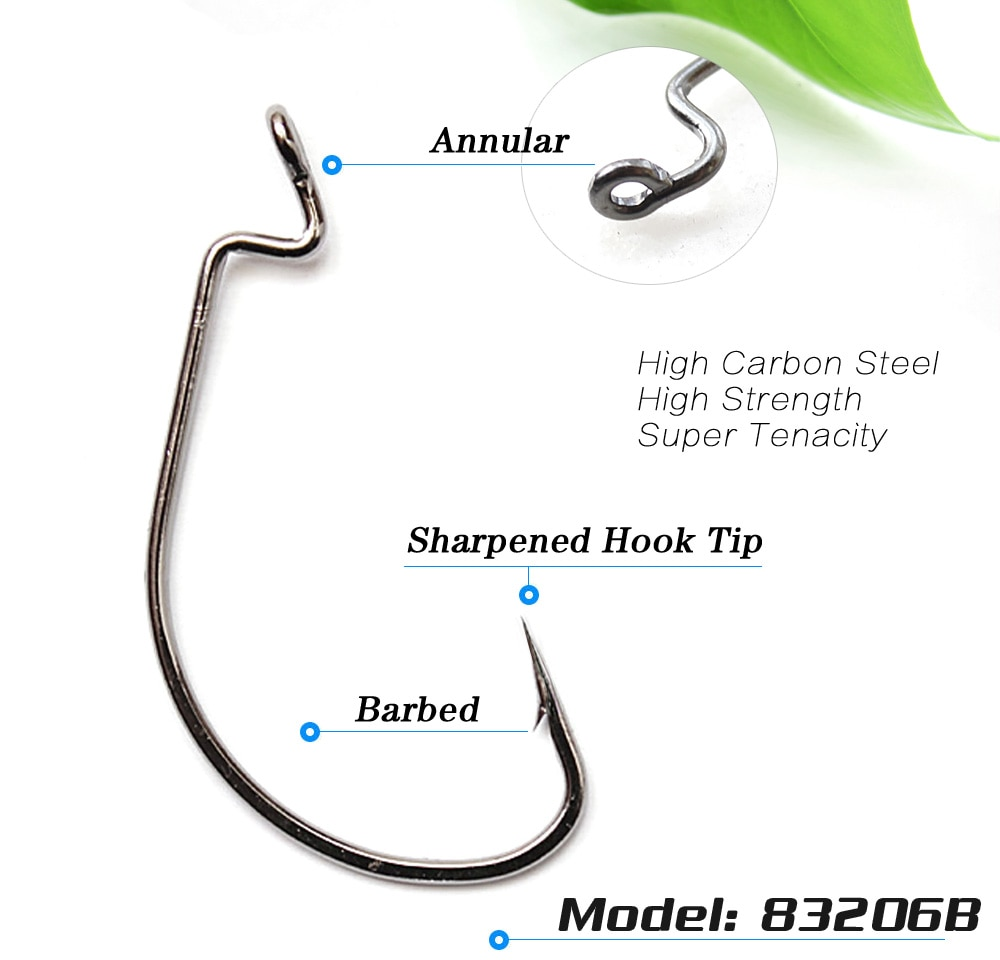 lots 50pcs fishing hook worm hook black hc 72a high carbon steel fishhook bass 83209 6 5 0 barbed sharpened hook Lots 100pcs Fishing Hook Worm Hook Black HC-72A High-carbon steel Fishhook Bass 83206 6#-5/0# Barbed Sharpened Hook