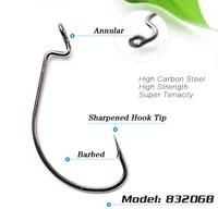 lots 100pcs fishing hook worm hook black hc 72a high carbon steel fishhook bass 83206 6 50 barbed sharpened hook