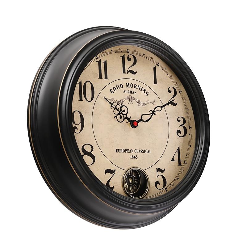 American Wall Clock Vintage Metal Frame Living Room Wall Watches Home Decor Silent Movement Modern Creative Quartz Clocks Gift