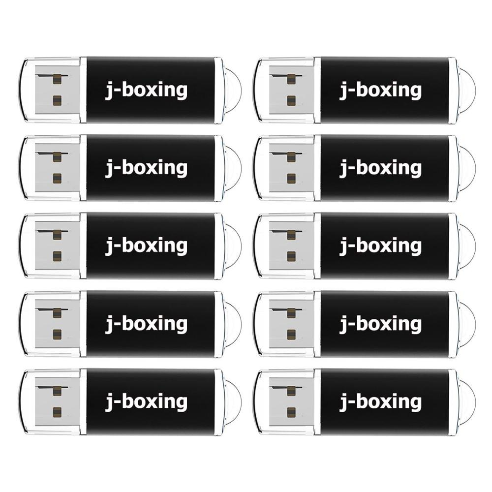 J-boxing 10PCS 1GB USB Flash Drives Bulk 2GB Rectangle Thumb Drives 4GB 8GB USB Memory Stick 16GB 32GB Pendrive with Cap Black