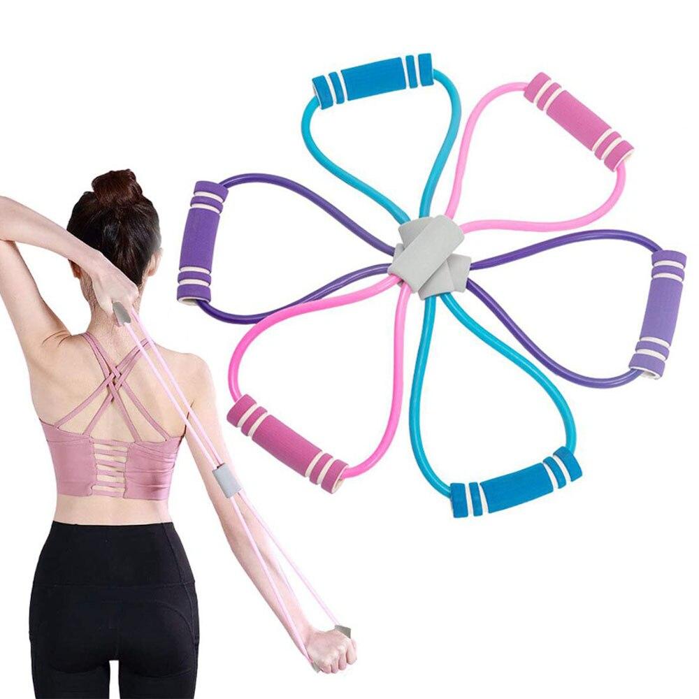 1pc Yoga tirant la corde élastique en caoutchouc Tube bande Fitness Tension ceinture 8 en forme de poitrine expanseur gymnastique exercice équipement dentraînement