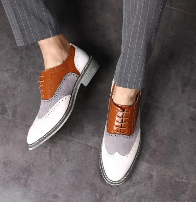 جلد بو للرجال أحذية عالية الجودة أحدث فساتين راقية أحذية الرجال أوكسفورد أحذية ريترو Zapatos دي Hombre AG011