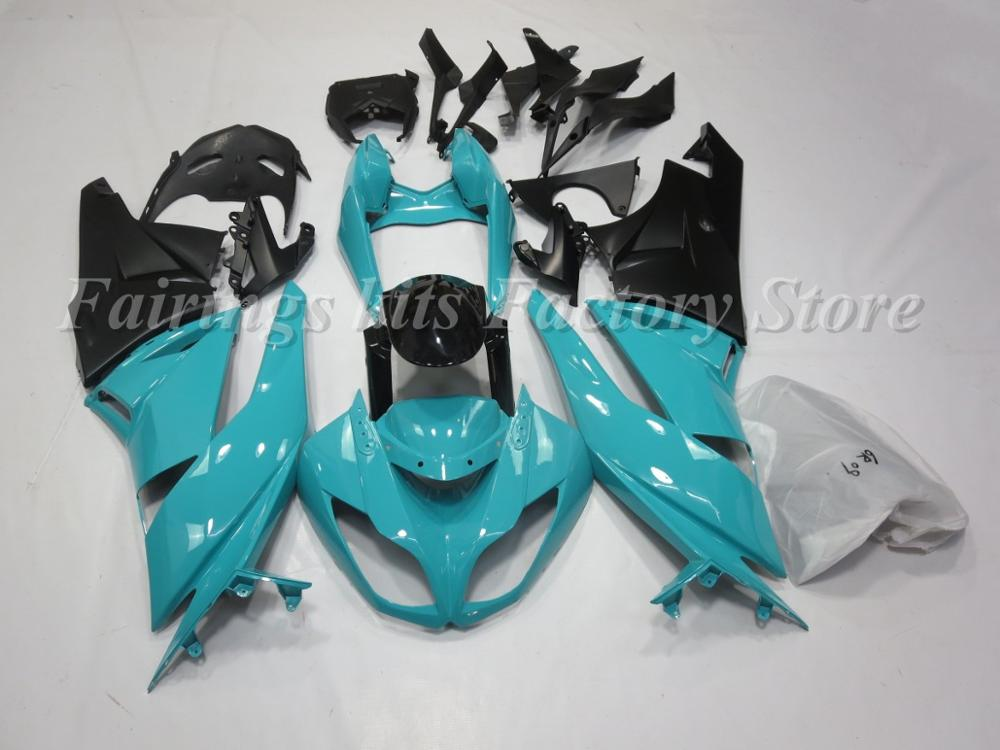 4 Gifts New ABS Motorcycle Fairing Kit fit for Kawasaki Ninja ZX6R 636 2009 2010 2011 2012 ZX-6R 09-12 custom Black  Sky blue