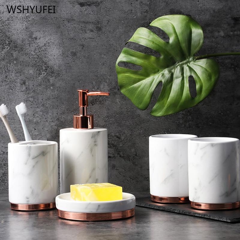 5/6pcs Ceramics Bathroom Accessories Set Soap Dispenser Toothbrush Holder Plastic tray European Home Bathroom Products enlarge