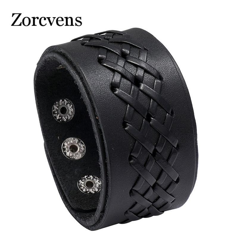 ZORCVENS Neue Mode Handmade Punk Vintage Multilayer Metall Charme Leder Armbänder für Männer Frauen Schmuck
