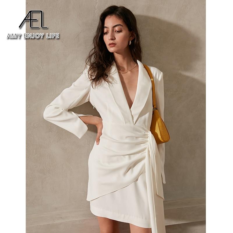 AEL الفرنسية فساتين الحفلات النساء الربيع أنيقة شال طوق شق كم طويل مثير بذلة نسائية Minidress الأبيض