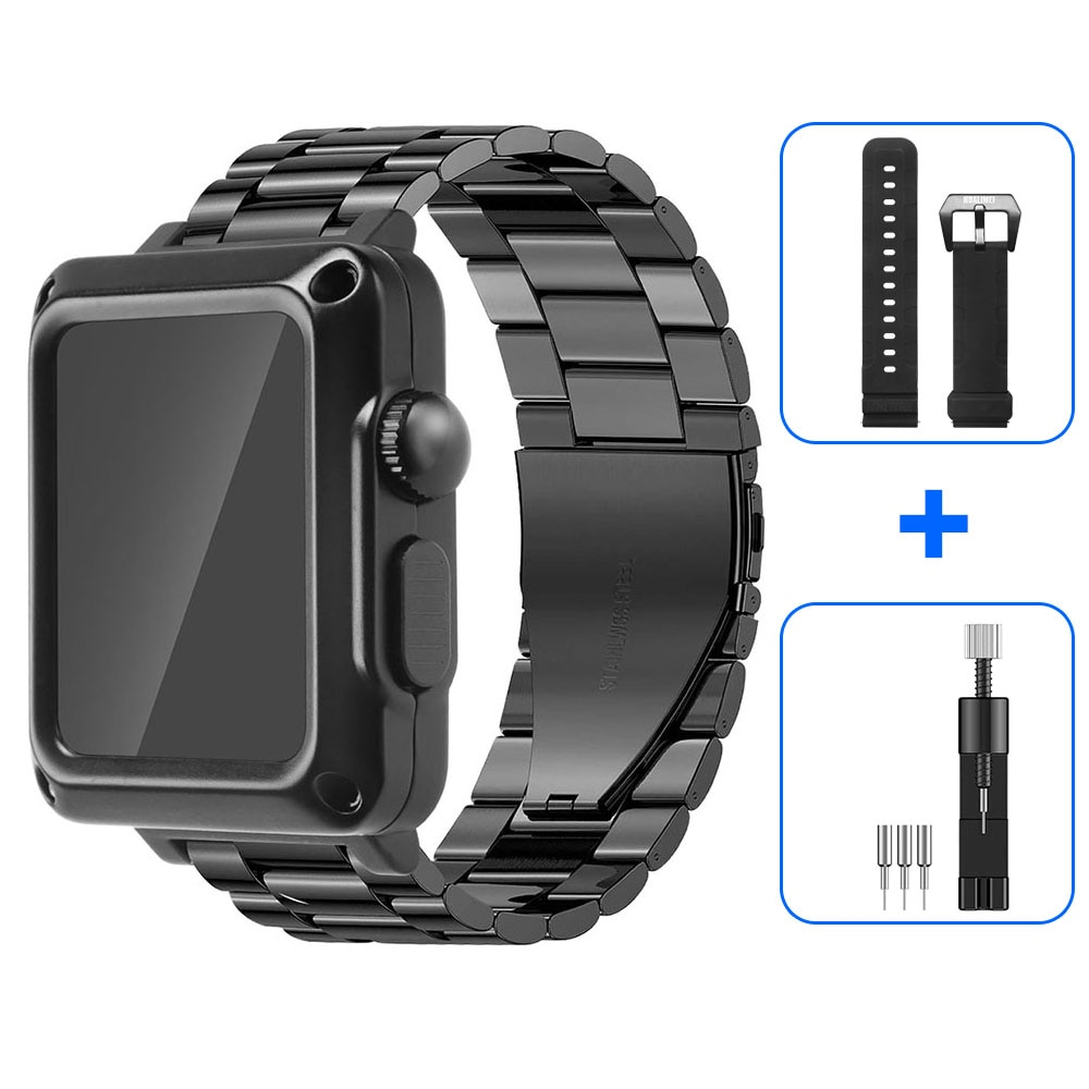 Case+Strap for Apple Watch Band 44 mm 42mm 42mm 40mm Stainless Steel Metal Bracelet for iWatch SE 6 5 4 3 Protective Cover enlarge