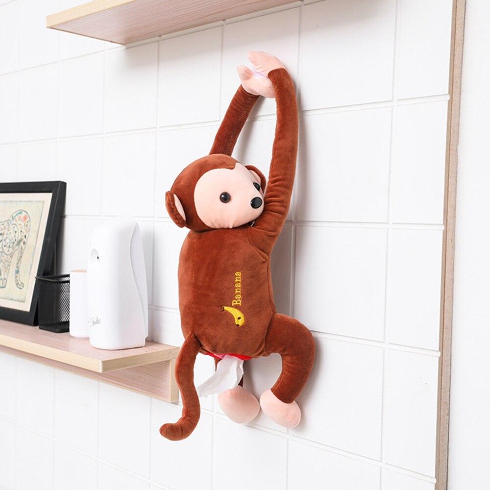 Caja de pañuelos portátil Monkey para oficina en casa Auto automóvil caja de pañuelos cubierta de papel servilleta fundas con soportes
