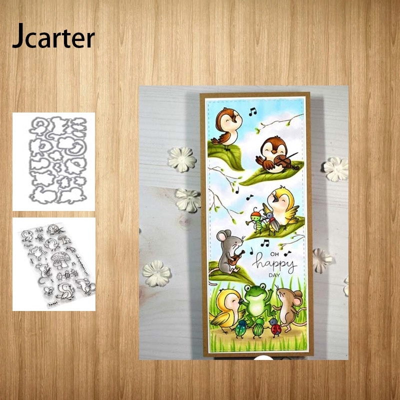 Metal corte dados e selos de borracha pássaro mouse cogumelo sapo scrapbooking estêncil álbum papel fazer modelo de decoração modelo artesanato