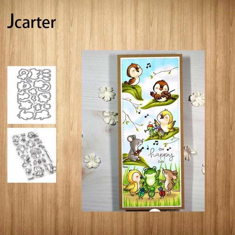 Troqueles de corte de Metal y sellos de goma pájaro ratón hongo Rana Plantilla de colección de recortes papel de álbum hacer plantilla decoración modelo Craft